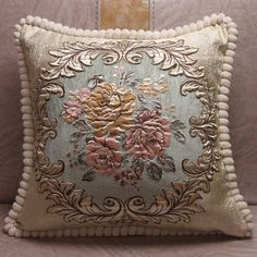 Chenille Fabric Jacquard Embroidered Cushion Covers Royal Elegant Classic Floral Home Decorative Luxury Pillow Cover - Light blue - & Cushion Cover Designs, Cushion Covers, Pillow Covers, Floral Cushions, Embroidered Cushions, Designer Bed Sheets, Natural Pillows, Luxury Cushions, Chenille Fabric