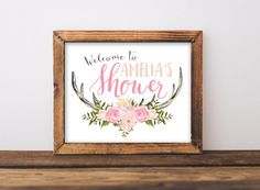 Baby Shower Welcome Sign Printable, Antler Girl Pink Oh Deer Woodland Theme Party Printables, Rustic Welcome to the Shower Antlers  Welcome
