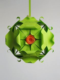 Origami paper ball Kusudama with roses by Waveoflight on Etsy, $20.00