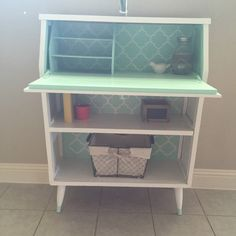 (Sold) Beautiful refinished secretary. Used white & mint chalk paint and a clear wax. Mild distressing and hardware was updated.