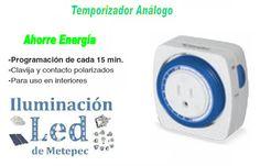 Temporizador análogo - Programación para cada 15 minutos, clavija y contacto polarizados, para uso interior únicamente.