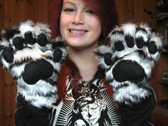 Cute White Tiger Cosplay Paw Gloves with Black Pads Fursuit via Etsy