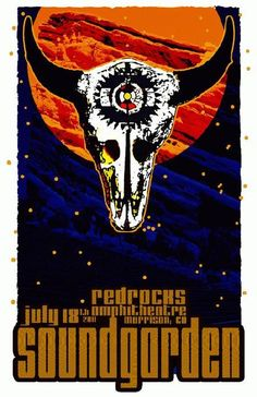 Original concert poster for Soundgarden and Mars Volta at Red Rocks in Morrison, CO in 2011.  11x17 card stock. Signed and numbered out of only 30 by the artist Mark Serlo.