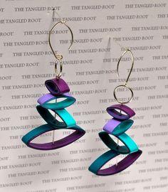 Eco Friendly Jewelry / Paper Earrings / Lightweight Earrings / Anniversary Earrings for Her / Eco Friendly Gift Idea - Mobi Paper Bead Jewelry, Fabric Jewelry, Paper Beads, Polymer Clay Jewelry, Jewelry Crafts, Beaded Jewelry, Paper Quilling Earrings, Origami And Quilling, Quilling Paper Craft