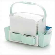 Skip Hop Toolbox Diaper Caddy-White and Mint, Toolbox is the answer to clutter in the contemporary baby room. The caddy holds up to a dozen diapers and a wide assortment of creams, ointments, cotton balls and other necessities and keeps them close at hand Peg Perego, Diaper Caddy, Rare Crystal, Crystal Decanter, Baby Accessories, Tool Box, Baby Room, Magazine Rack, Baby Kids