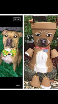 Dog Puppy Pot Person Planter Made from Terra by GARDENFRIENDSNJ