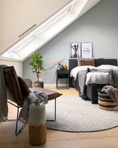 Attic Master Bedroom, Bedroom Loft, Bedroom Inspo, Bedroom Colors, Home Bedroom, Relaxation Room, Awesome Bedrooms, Bedroom Styles, New Room