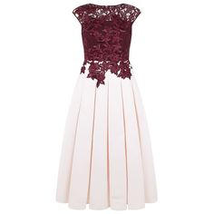 Ted Baker Ilsa Embroidered Appliqué Midi Dress (€570) ❤ liked on Polyvore featuring dresses, white dress, calf length dresses, embroidered dress, pleated dress and embroidery dress