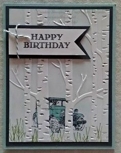 Another Guy Greeting using Woodland Textured Impressions Embossing Folder & Guy Greetings Stamp Set Dad Birthday Card, Bday Cards, Birthday Cards For Men, Handmade Birthday Cards, Greeting Cards Handmade, Cards For Men Handmade, Graduation Cards, Masculine Birthday Cards, Masculine Cards