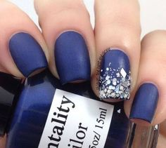 Navy Blue Nails with Glitter Accent