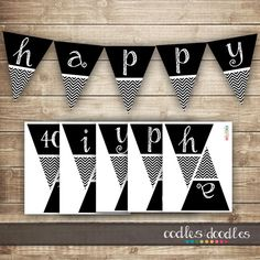 Chevron Birthday Banner / 30th, 40th, 50th Printable Birthday Pennant Banner / Black and White Chevron, INSTANT DOWNLOAD - Printable on Etsy, $12.00