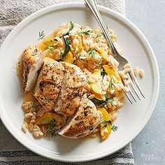 Herbed Chicken, Orzo, and Zucchini This one-dish recipe features a delicious blend of chicken breast, orzo, and zucchini. Ready in under 30 minutes, this is a perfect weeknight meal.