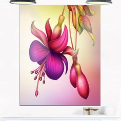 Fuchsia Flowers with Leaves - Floral Glossy Metal Wall Art