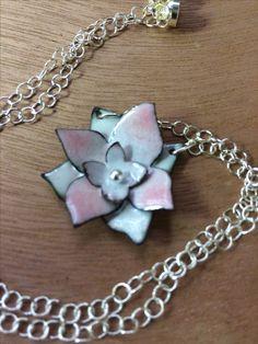 Enamel lotus necklace with fine silver details