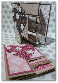 Fancy Fold Cards, Folded Cards, Fall Cards, Christmas Cards, Book Making, Card Making, Card Book, Shaped Cards, Pop Up Cards