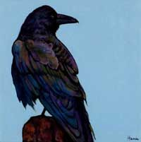 The Watcher. Large black Raven on a fencepost. Acrylic painting on canvas. Wildlife painting by Johnathan Harris.