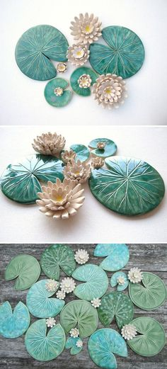 Ceramic lily pad coasters are the loveliest example of functional sculpture (just remove a bloom when you want to set down a glass). #etsyfinds Nenúfares de cerámica para usar de posavasos