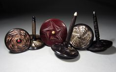 jS: Rose Engine Spin Tops made of African Blackwood, Bloodwood, Bamboo & Pink Ivory Wood by Jon Sauer Amboyna Burl, Spinning Top, Engine, Bamboo, Ivory, African, Rose, Pink, Top