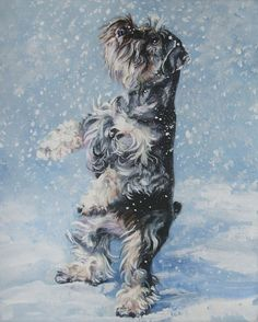 Miniature Schnauzer art CANVAS print of LA Shepard by TheDogLover, $19.99