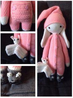Rita Rabbit in pyjama met knuffeltje - Lalylala Crochet Bunny, Love Crochet, Crochet Animals, Crochet Dolls, Knit Crochet, Amigurumi Doll, Amigurumi Patterns, Crochet Patterns, Knitting Room
