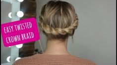 How to: Easy Twisted Crown Braid on Short/Medium Hair - YouTube
