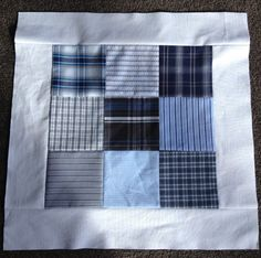 How to take free, or cheap, mens shirts and turn them into a modern, patchwork quilt.
