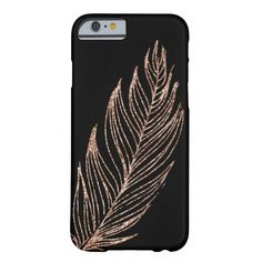 9badcbf634d Rose Gold Faux Glitter Feather Barely There iPhone 6 Case