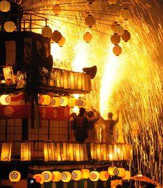Hand tube fireworks Japanese festival