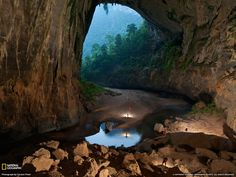 Hang En Cave, Vietnam. A cave tunneled out by the Rao Thuong River. Photograph by Carsten Peter, National Geographic
