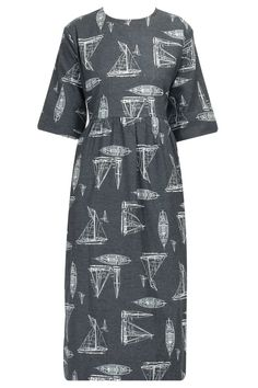 Black boat print dress available only at Pernia's Pop-Up Shop.