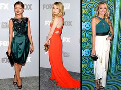 2013 Emmy Awards After Party Fashion Sarah Hyland in a green custom silk CH Carolina Herrera gown with a lace overlay, plunging neckline and black waistband. Emma Roberts in a figure-hugging, vibrant orange Stella McCartney gown with cutout panels on the back and accessorized with a gold clutch. Anna Camp in an ivory-and-teal colorblock Catherine Malandrino gown with a draped skirt, plus green and black statement rings, a black clutch and side-swept curls.