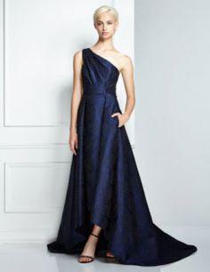 Pamella, Pamella Roland Formal One Shoulder Jacquard Gown, Blue