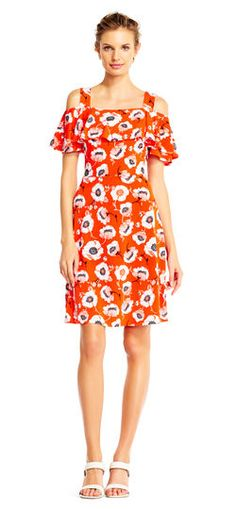 Adrianna Papell   Floral Off the Shoulder Fit and Flare Dress