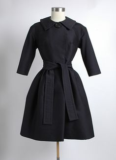 Rare 1950's James Galanos Black Silk/Wool Coat Dress