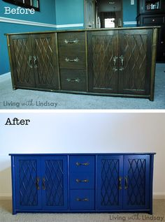 """Lindsay explains how to """"professionally"""" refinish a piece with step by step details.  I love that blue!"""
