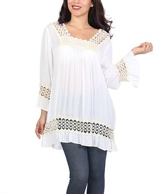 This Shoreline White Crochet-Accented Swing Tunic - Plus by Shoreline is perfect! #zulilyfinds