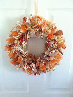 Fall Rag Ribbon Wreath Autumn Rag Ribbon by RagWreathsbyMissVal, $45.00