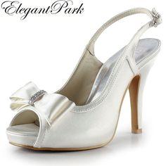 EP2042-IP Silver Woman Shoes Peep Toe Bow Slingbacks High Heel Sandals Satin Wedding Pumps Fashion Woman sandals Wedding Shoes #Affiliate