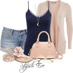 Dusty pink with jean shorts, created by stylisheve on Polyvore
