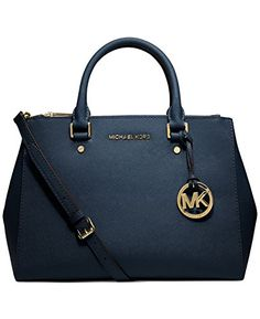 Women's Top-Handle Handbags - MICHAEL Michael Kors Sutton Navy Medium Saffiano Leather Satchel * More info could be found at the image url.