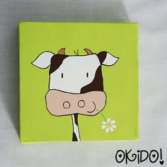 Acrylic Painting for Kids Happy Cow Reserved for LL by oKIDDo, $20.00