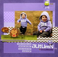 Color Challenge: Autumn Sweetness in Lilac 12x12 Scrapbook, Scrapbook Designs, Disney Scrapbook, Scrapbook Page Layouts, Scrapbook Paper Crafts, Scrapbooking Ideas, Chevron Paper, Purple Chevron, Halloween Scrapbook