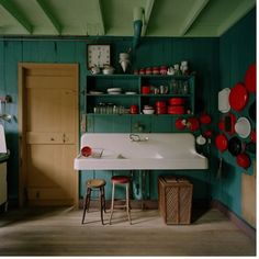 hmmm...interesting...these were the accent colors i was going with in kitchen.  teal and red.  thinking of repainting dining/kitchen with teal and using just red as accent (and get rid of my bright green)  ???