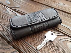 Genuine Leather Key Case Key Holder Luxury Elegant Accessories Button Closure #MakeyStudio