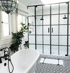 Two shower heads and door design