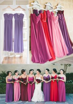 spring wedding colors 2014  -  Purple Bridesmaid Dresses Wedding Trends - love all these colors