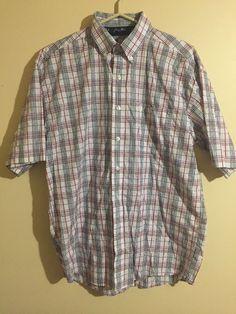 Wrangler George Straight Check Plaid Cowboy Cut Short sleeve Western Shirt Men M #Wrangler #ButtonFront
