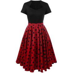 Polka Dot Two Tone Dress ($25) ❤ liked on Polyvore featuring dresses, spotted dress, 2 tone dress, red dress, dot dress and two-tone dress