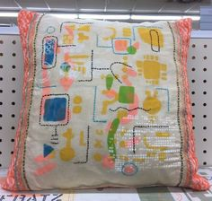 Pillow made from scrap fabric. I decorated the front with stencils and embroidery. http://carolynsstampstore.com/catalog/fun_with_stencils.php