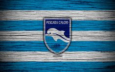 Download wallpapers Delfino Pescara 1936, Serie B, 4k, football, wooden texture, white blue line, italian football club, Delfino FC, logo, emblem, Pescara, Italy